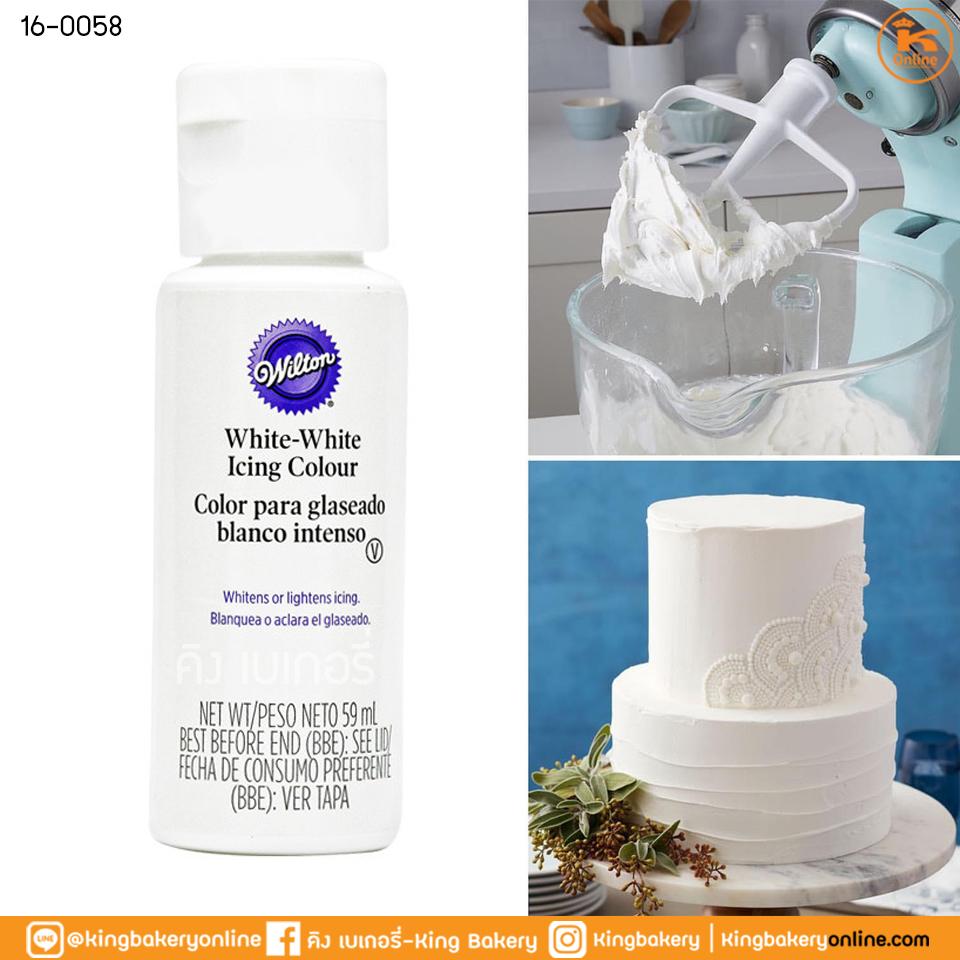 สีเจลผสมอาหาร สีขาว ขนาด 59 ml ตราวิลตัน (1ลังX6ขวด)