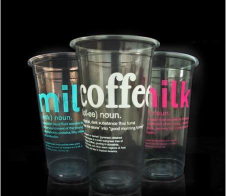 แก้วช้างไทย แก้วลายตัวอักษร แก้วกาแฟ แก้วพลาสติก  22 oz ปาก95 ลายคอฟฟี่ และลายมิลล์นาว